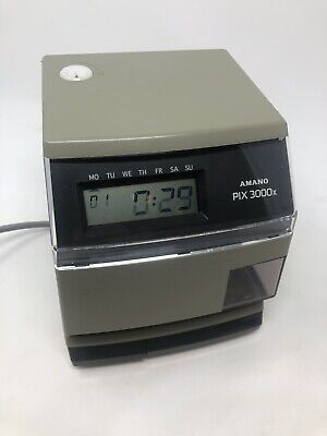Amano Pix-3000x Digital Electric Time Stamp Recorder Clock Punch In Out - Works