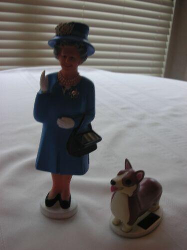 "Solar Queen Elizabeth ""The Crown"" Waving Figurine Blue Dress"" & Dog"