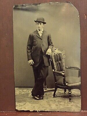 Tintype Photo, Nice Looking Young Man In His New Best Suit, 6th
