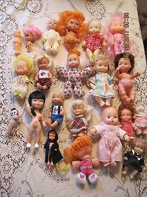 large lot of small vintage dolls pee wees, kiddels, & many others