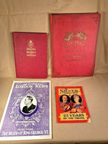 4 King Edward VII, George VI, British Royalty Coronation Books Etc.