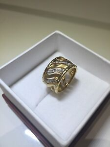 18K Solid Yellow Gold 0.30CTW VS diamonds Ring Band