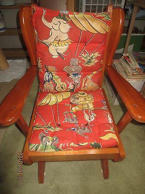 1950-60 HARTSHORN MAPLE PLATFORM CHILD ROCKER w/Original Cushions - VGC