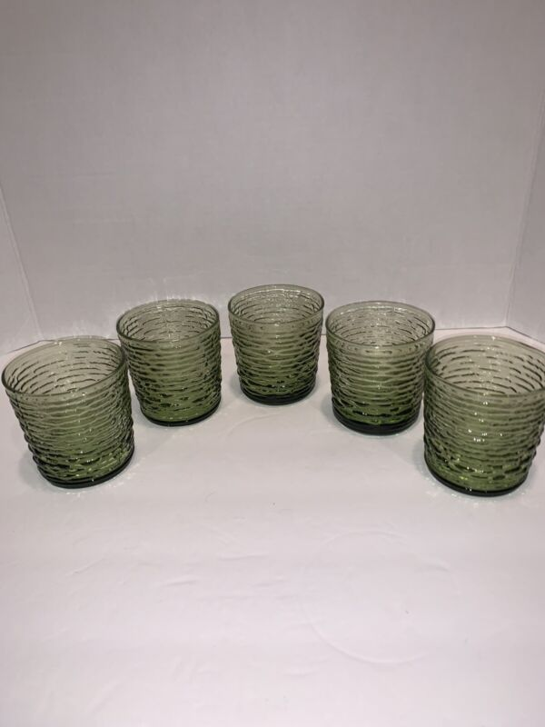 5 Vintage Anchor Hocking Soreno Avocado Tumblers Glasses 8 Oz Mint! HTF!
