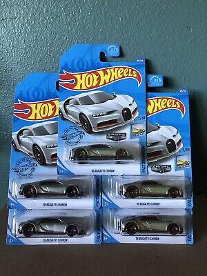 Hot Wheels 2020 Walmart Exclusive Zamac '16 BUGATTI CHIRON Lot Of 5