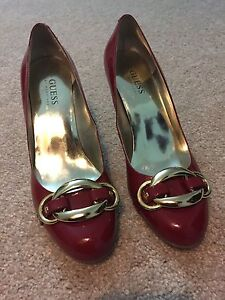 Guess red patent leather almond toe heels London Ontario image 1