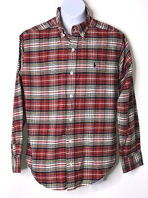 Ralph Lauren Boys Red Plaid Holiday Oxford Dress Shirt Sz 12-14 MED