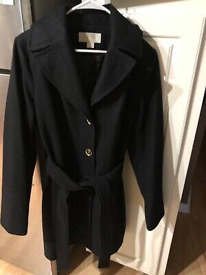 Michael Kors Button PeaCoat With Hood/Black/Size 14
