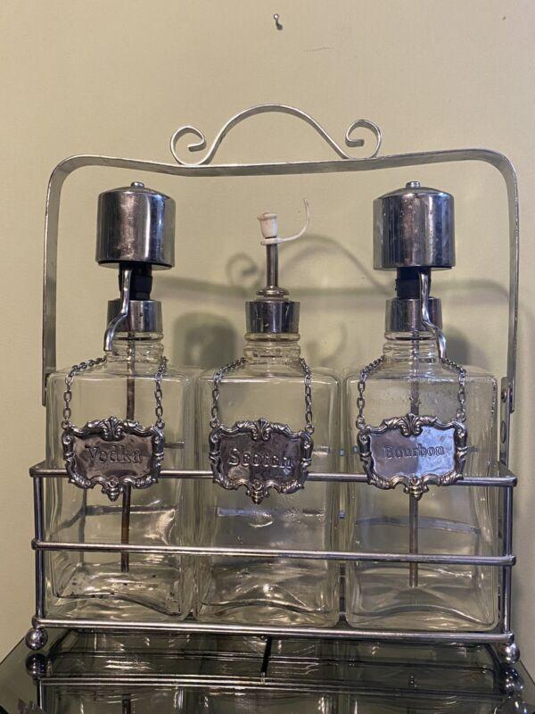 Vintage Bar Vodka Bourbon Scotch Liquor Clear Glass Bottle Pump & Chrome Caddy