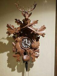 Vintage German Black Forest Cuckoo Clock Hunter Stag Head Carved Wood