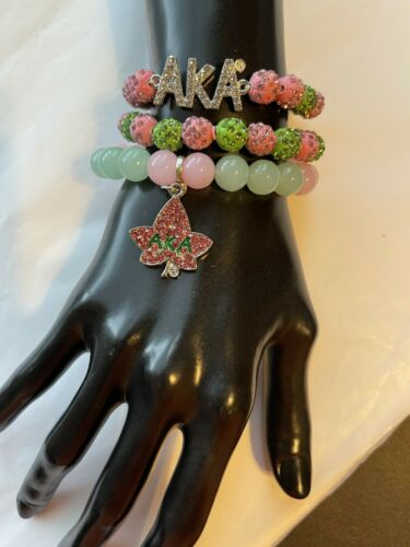 Alpha Kappa Alpha Beaded Bling Charm Bracelet Set Imperfect