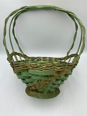 Primitive Woven Basket Tall Handle Green Paint Gold Antique Vintage Easter  - Tall Baskets