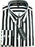 Mens Black and White Striped Shirt