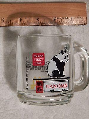 """McDonald's 1988 Toledo Zoo (GLASS MUG) Panda """"Nan-Nan"""" (FREE SHIP.)"""
