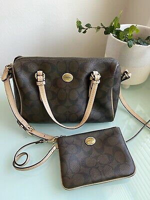 Coach Brown Leather Signature Purse And Wallet Set