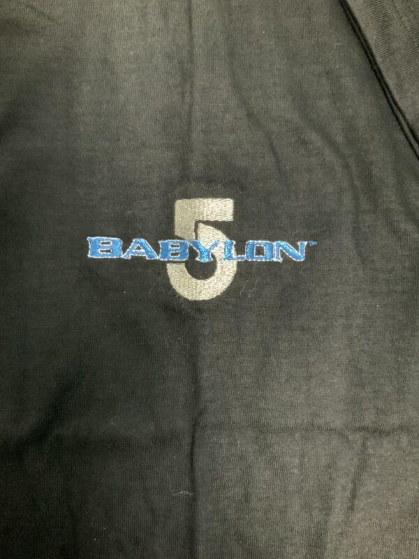 Babylon 5 Embroidered Silver & Blue Large Short Sleeve Black Cotton T-Shirt