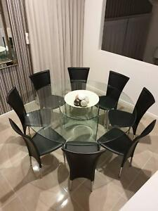 8 Black leather dining chairs Gordon Tuggeranong Preview