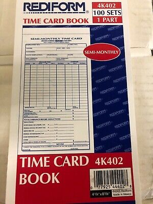 Rediform Time Card Pad Semi-monthly Manila Forms 4.25 X 8 100 Cards 4k402