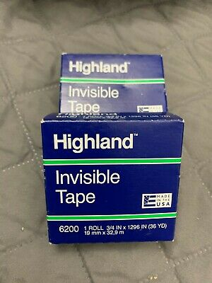 2 Packs Of 3m Highland Scotch Invisible Tape 6200 - 34 X 1296 36yd