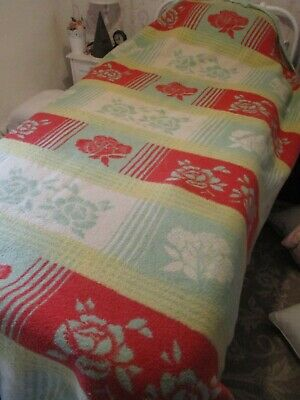 vintage wool flower pattern wool blanket dutch  retro