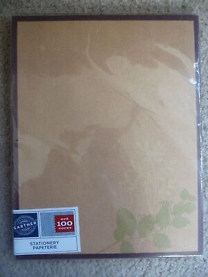 NEW Gartner Studios Thick Brown Floral STATIONERY Paper 100 ct Leaves LETTERS 100 Ct Stationery
