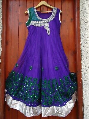 INDIAN PARTY WEDDING STITCHED DRESS PAJAMI FROK SUIT BEADS THREAD WORK PURPLE