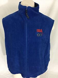 US Olympic Team Blue Vest Full-Zip Men's XXL Made in USA