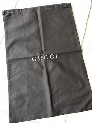 """Vintage Gucci Brown Cloth Bag Large Shoe cover Draw String Sackpack 11.5""""x17"""""""