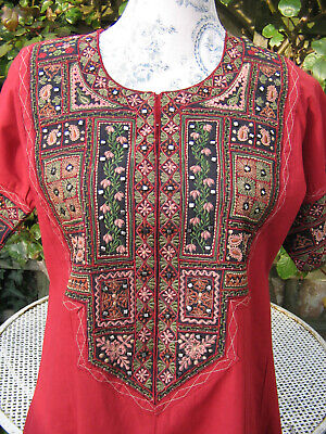 Vintage red Indian Pakistani Shalwar Kameez dress tunic red embroidery size 8 10