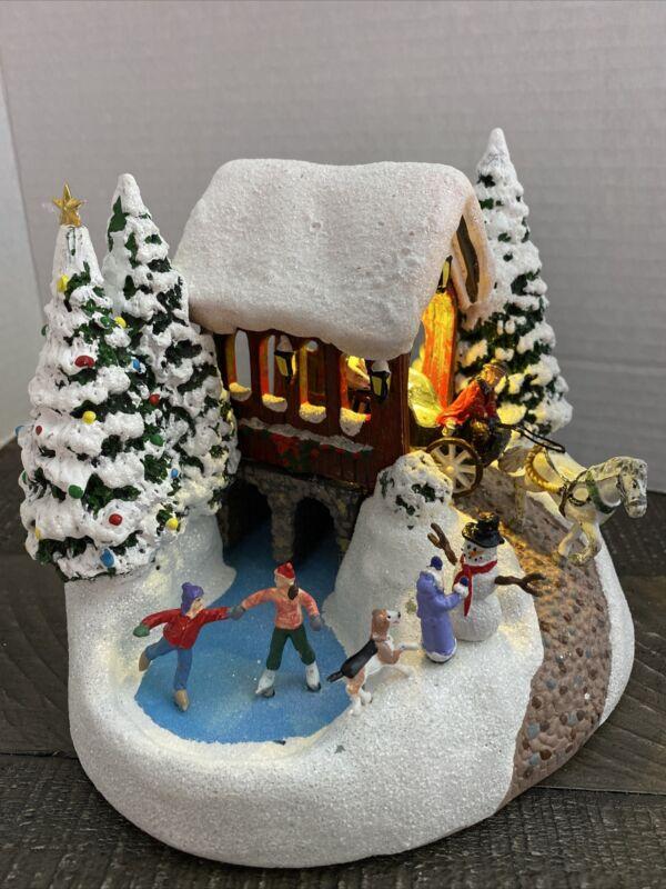 Thomas Kinkade Lighted Porcelain House 1992 Country Memories- Christmas Village