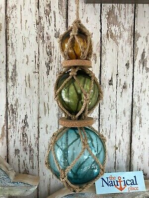 (3) Aqua, Green, Amber Glass Fishing Floats On Rope ~ Nautical Fish Net Decor
