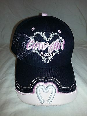 COWGIRL BABE Hat Embroidered Horseshoe Heart Womens Girls Cap Pink BLACK NWOT (Girls Pink Cowgirl Hat)