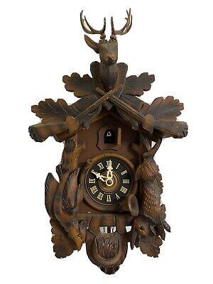 Vintage Black Forest German Musical Cuckoo Clock Hunter Elk - Hand Carved