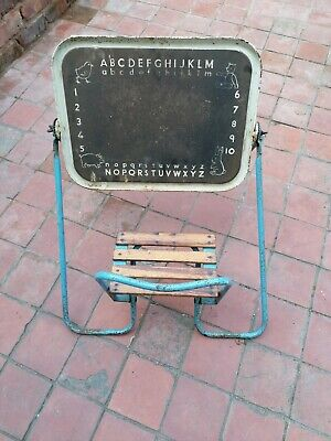 Old Vintage Childs Folding Seat With Chalk Board.