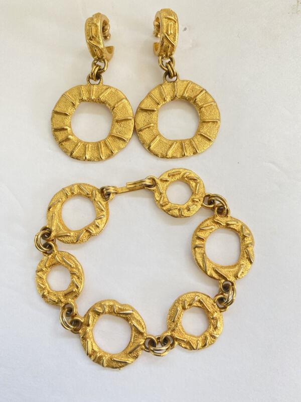 Bob House Modernist Gold Tone Textured Bracelet & Drop Dangle Pierced Earrings
