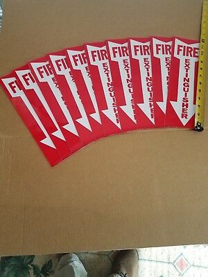 Fire Extinguisher Sign - Lot Of 10 Signs - 4 X 12 Vinyl Stick-on Arrow Sign