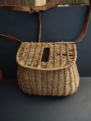 Vintage Wicker Fishing Creel With Adjustable Leather Strap