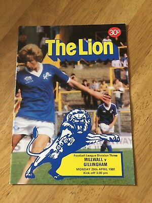 Millwall v Gillingham    20th April 1981    Div 3