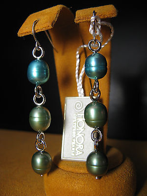 (PEARL EARRINGS TEAL GREEN LONG SILVER CHAIN GIFT HONORA DESIGNER Christmas  )
