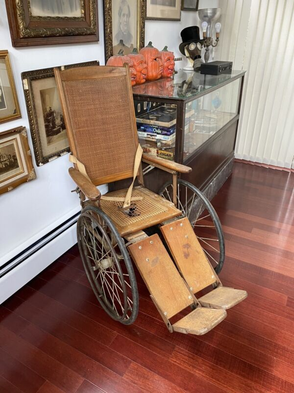 Vtg Antique Wooden Gendron Wheelchair Chair Morgue Cemetery Hospital Horror Prop