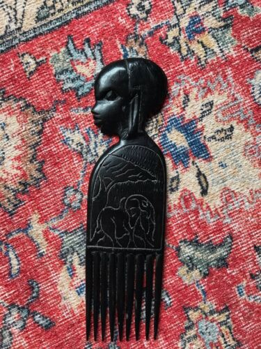 Vintage / Antique Wood / Wooden African Hand Carved Art Hair Comb Ornament