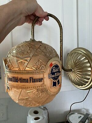 VTG PABST BLUE RIBBON BEER ELECTRIC ROTATING WALL SCONCE LIGHT - WORKS
