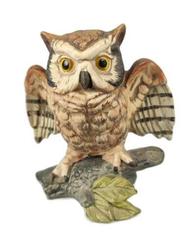 Vintage Horned Owl on Branch Figurine Hand Painted Old Beautiful Wings Spread