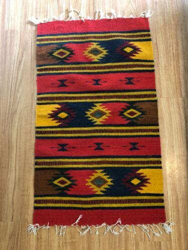 Zapotec Rug 100% Wool Handmade Mexico 40 X 22