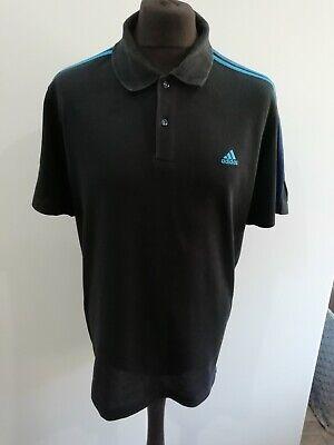 Mens Adidas polo shirt XL black + blue stripes climalite cotton spring summer UK