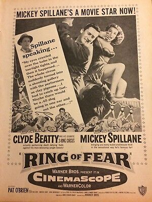 Ring of Fear, Mickey Spillane, Clyde Beatty, Full Page Vintage Promotional Ad