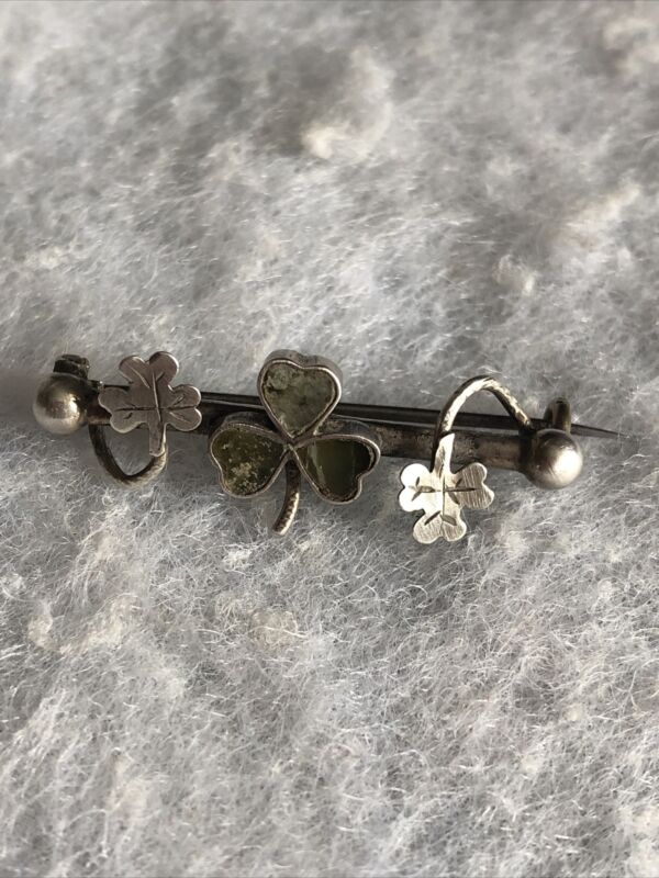 Antique Victorian Brooch Connemara Marble Trefoil Unmarked White Metal 1900s Old