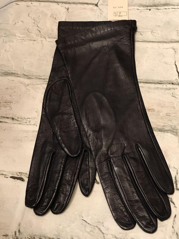 "FAB! Vintage Bonwit Teller Black Leather w Silk Lining 11""L Gloves Size 6.5 NEW!"