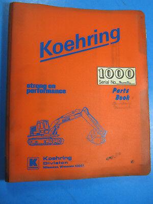 Koehring 1000 -1b Excavator Parts Book Catalog