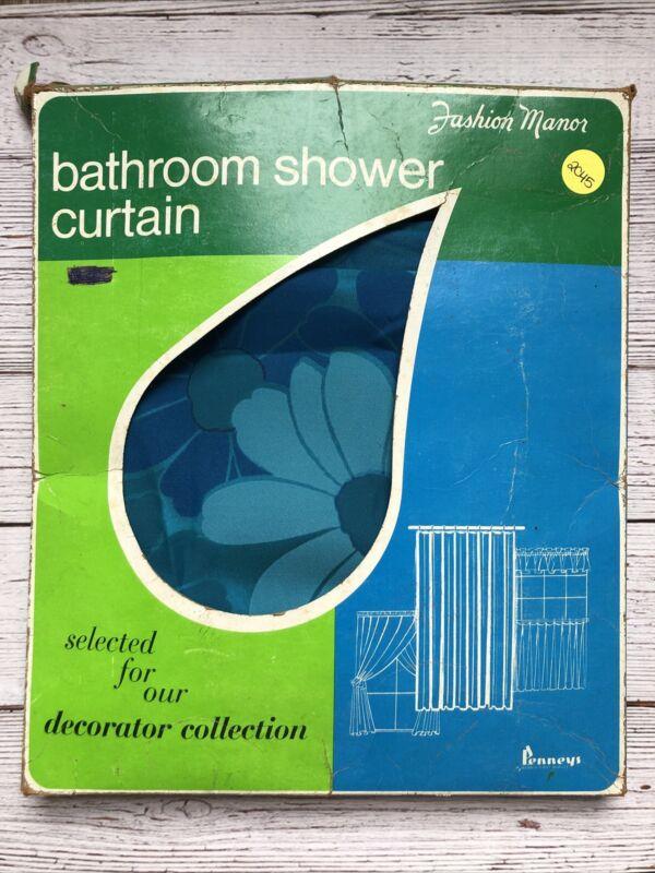 Vintage Penneys Fashion Manor Bathroom Shower Curtain Blue Daisy 1960